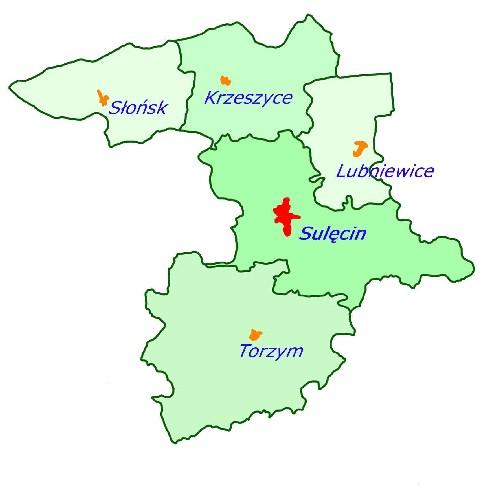 Mapa powiatu sulęcińskiego z zaznaczonymi granicami gmin oraz naniesionymi miejscowościami w których znajdują się urzędy gmin.