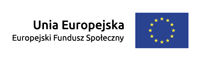Logo: W lewej części obrazka napis: Unia europejska Europejski fundusz społeczny, w prawej części 12 pięcioramiennych żółtych gwiazd ułożonych w okrąg na niebieskim prostokątnym tle.