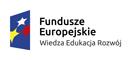 Logo: w lewej części obrazka gwiazdy biała, żółta, czerwona na niebieskim tle. W prawej części napis: Fundusze europejskie Wiedza edukacja rozwój.